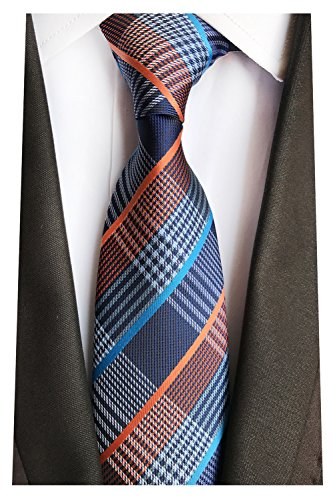 (MENDENG New Classic Striped White Black Streak 100% Silk Men's Tie Necktie Ties)