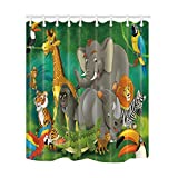 KOTOM Safari Wild Animal for Kids Shower Curtains, Cartoon Elephants and Giraffes Family in Forest, Mildew Resistant Polyester Fabric Bath Curtains for Bathroom, Shower Curtain Hooks Included, 69X70in