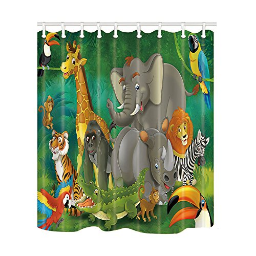 KOTOM Safari Wild Animal for Kids Shower Curtains, Cartoon Elephants and Giraffes Family in Forest, Mildew Resistant Polyester Fabric Bath Curtains for Bathroom, Shower Curtain Hooks Included, 69X70in by NYMB