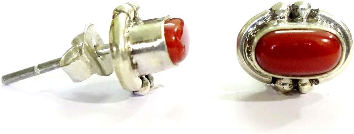 India Jewel Store Hecho a Mano 925 de Plata esterlina Stud Genuino Italiano Coral Rojo Stud Stud auténtica para Mujeres niñas Unisex Stud Pendientes étnico Boho Stud Pendientes
