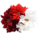 Elegant 5-Stem Velvety Poinsettia Bushes, 15 in. Set of 3