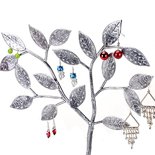MyGift Tree Design Jewelry Hanger, Earring Necklace Holder with Ring Dish Tray, Silver by MyGift (Image #4)