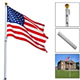 Telescoping Flagpole w/ 1 US America Flag Kit Outdoor Gold Ball Aluminum 16Ft
