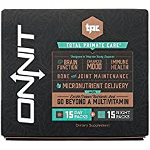 Onnit Total Primate Care - Day and Night Vitamin, Mineral, Herb, and Amino Acid Packs (15 Day Supply)