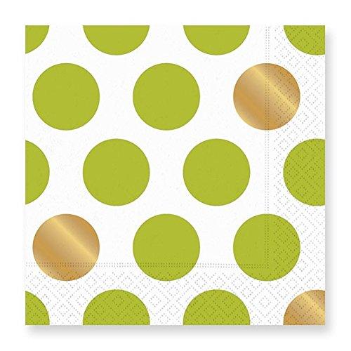 Design Design Kenzie Lime Green White Gold Dots Paper Dinner Napkins