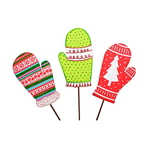 The Round Top Collection Retro Mitten Stakes- Assorted 3 - - Collection Red Mitten