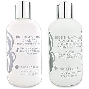 Biotin Vitamin Hair Growth Shampoo & Conditioner SET-(High Potency) Biotin Shampoo + Conditioner Set For Fastest Hair Growth, Vitamins E, A, And C B THE PRODUCT (33.5oz)