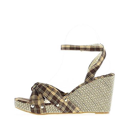 Sandales compensées femme marron et or talon 9.5cm