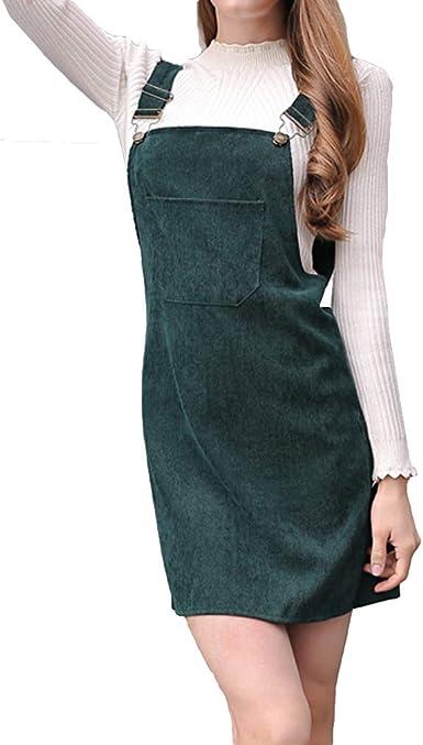 Vestido para Mujer - Dulce Falda Recta Vestido Peto de Pana Casual ...