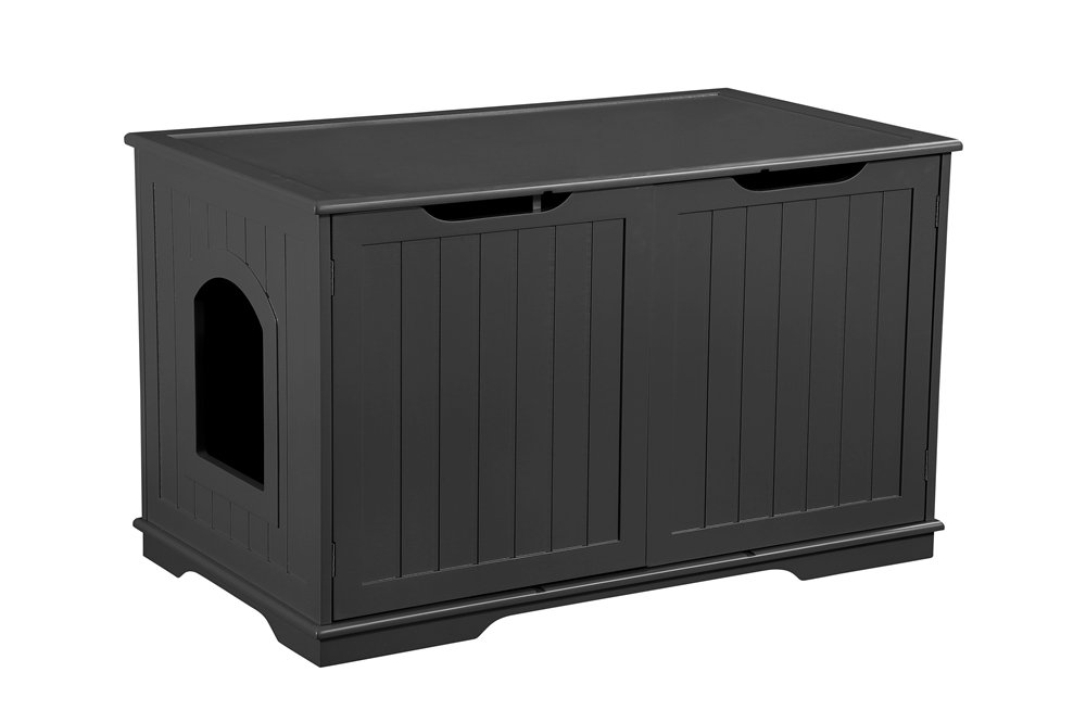 Pet Hup Hup Pet Cat Washroom Bench Litter Box Enclosure Black