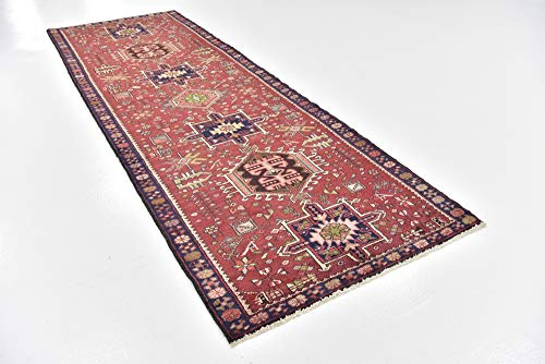 Gharajeh Persian Rugs - Medallion Geometric Hand Knotted Wool 4 feet by 11 feet (4' x 11') Runner Gharajeh Red Persian Area Rug