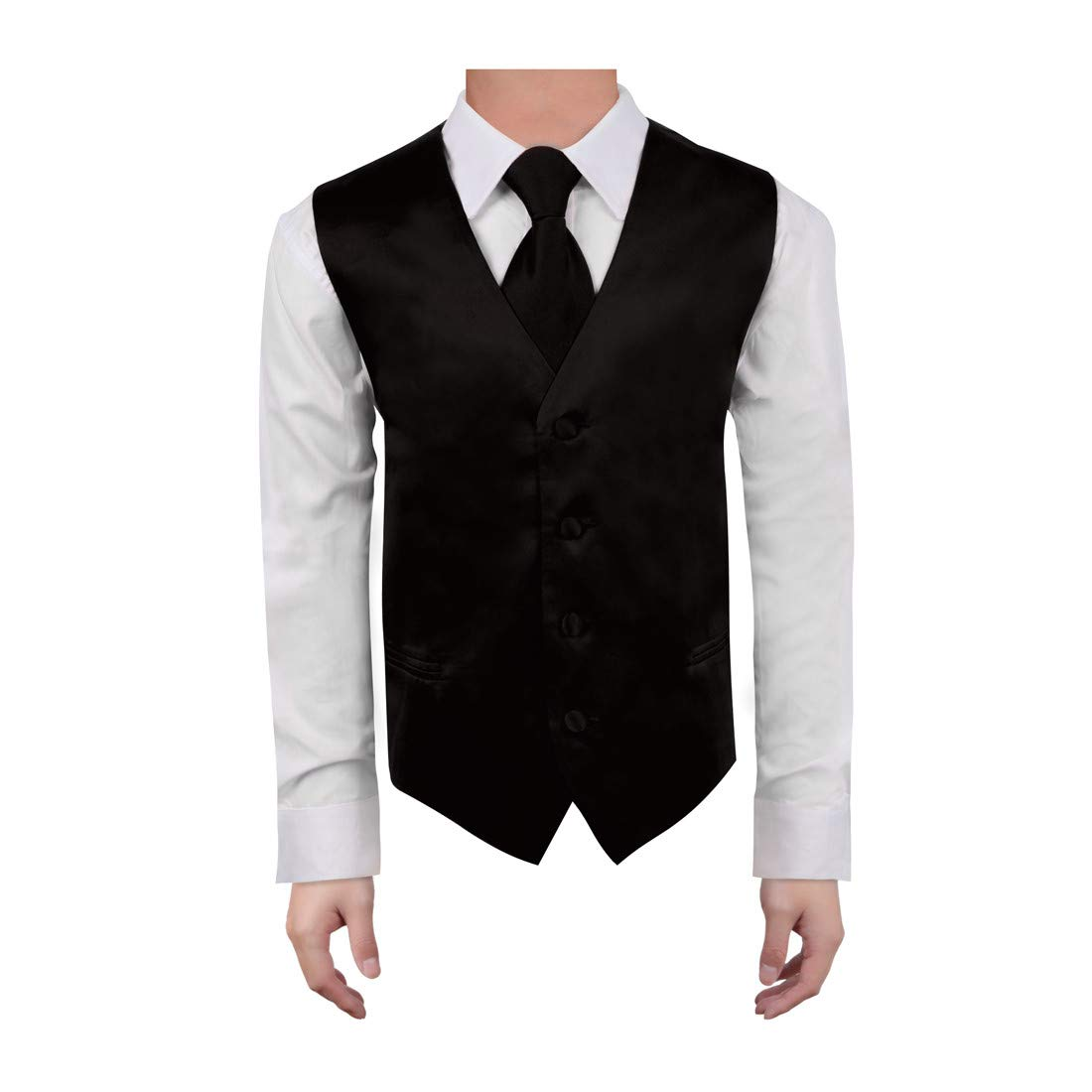 Dan Smith Men's Fashion Various Kid Solid Microfiber Vest Matching Tie for Age 6-16 With Free Gift Bags