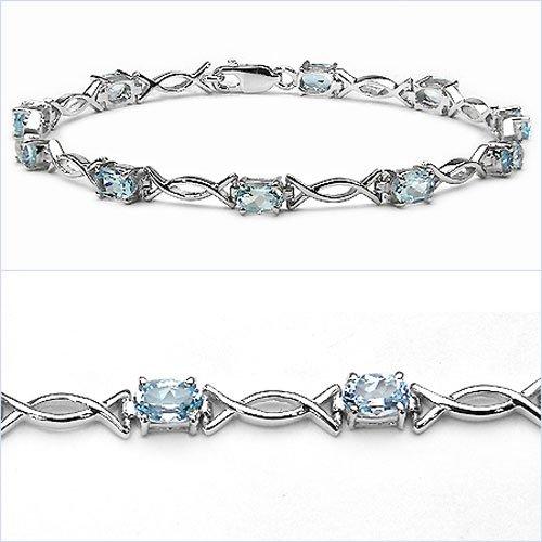 Bijoux Schmidt-Précieux Bracelet à topaze bleue en argent 925 rhodié-6-, 50 carats
