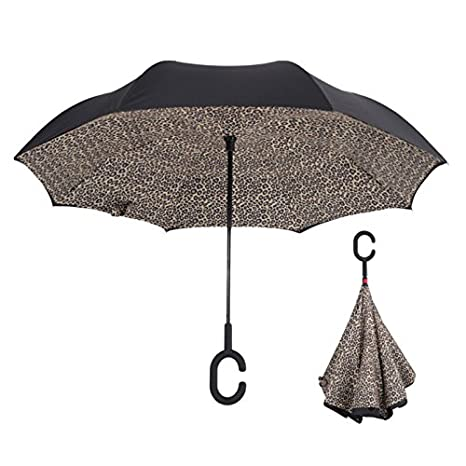 HOMEIC Folding Reverse Umbrella Double Layer Inverted Windproof Rain Car Umbrellas Leopard