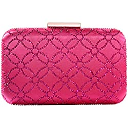 DMIX Womens Hard Case Crystal Box Clutch Purse Evening Bags and Handbags for Party Prom Wedding Fuchsia