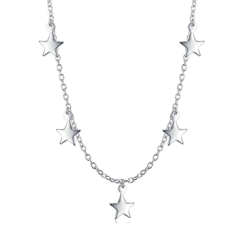 Sterling Silver Dangling Stars Choker Necklace