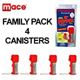 Genuine MACE® Brand Defense Pepper Spray~80171~FAMILY PACK of 4 Canisters~Pocket Model 10% PepperGard®~Police Strength~Read the FACTS About Defense Spray Strength and Quality!~(PLEASE See Shipping Restrictions Before Ordering) For Sale
