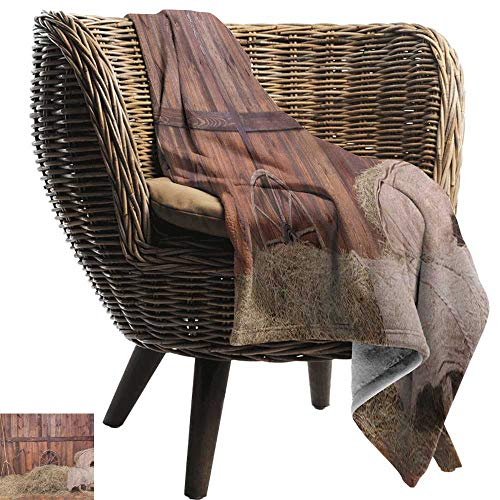 AndyTours Wearable Blanket,Barn Wood Wagon Wheel,Rural Old Horse Stable Barn Interior Hay and Wood Planks Image Print, Brown Dust,Lightweight Microfiber,All Season for Couch or Bed 30