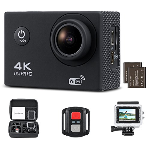 Yimaler 4K Action Camera HD 1080P WiFi Waterproof Mini Sport Cam 2 Inch LCD Screen 16MP Remote Control 100 Feet 170 Degree Wide Angle 2 Rechargeable 1050mAh Battery Free Travel Bag Black