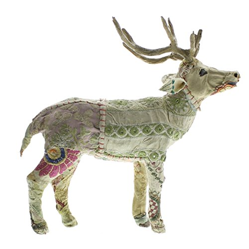 Cottage Patchwork Quilt 12″ Standing Deer Statue | Stag Embroidered Cottage Fabric