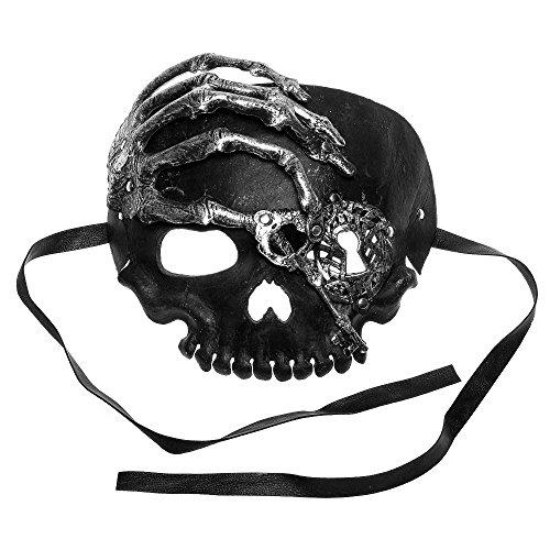 ILOVEMASKS Halloween Skull With Key Venetian Masquerade Half Face Mask - Silver Black -