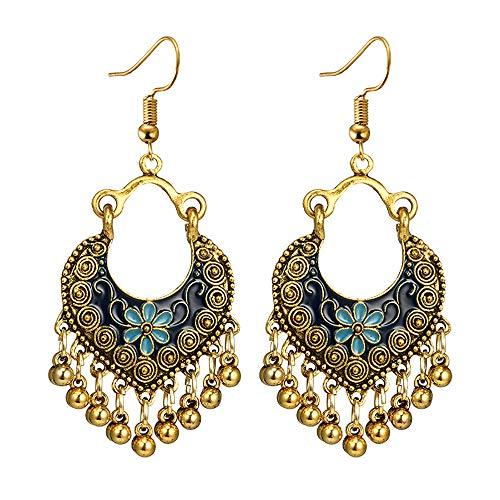 Women Vintage Bohemian Love Pierced Engraved Drops Oil Flowers Heart-shaped Long Bells Earrings