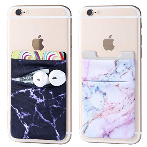 2Pack Marble Adhesive Phone Pocket,Cell Phone Stick On Card Wallet,Credit Cards/ID Card Holder(Double Secure) with 3M Sticker for Back of iPhone,Android and All Smartphones-Double Pocket-Black&Purple