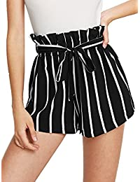 Women's Casual Elastic Waist Striped Summer Beach Shorts with Pockets