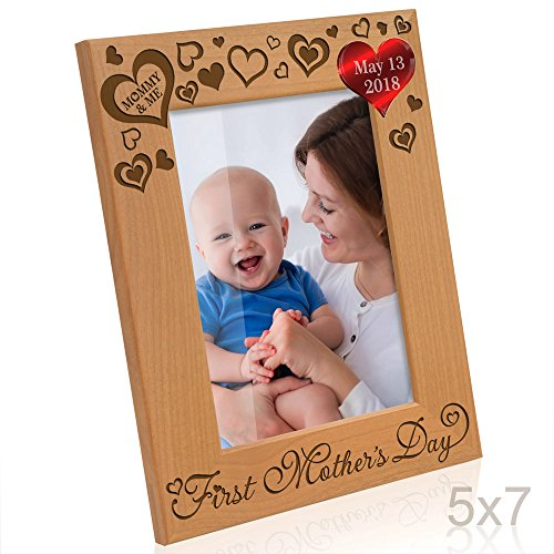 Kate Posh - 2018 First Mother's Day Photo Frame - Engraved Natural Wood Picture Frame - 1st Mother's Day Gifts, New Mommy Gifts, First Mother's Day Gifts, Mommy & Me Gifts - (5x7-Vertical)