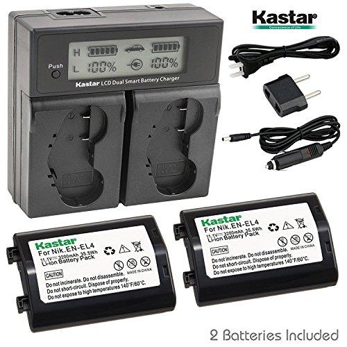 Kastar LCD Dual Smart Fast Charger & Battery (2 PACK) for Nikon EN-EL4, EN-EL4A, ENEL4, ENEL4A and Nikon D2Z, D2H, D2Hs, D2X, D2Xs, D3, D3S, D3X, F6 Camera, Nikon MB-D10, D300, D300S, D700, MB-40 Grip ()
