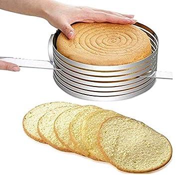 Delaminator retractable de la torta del acero inoxidable Circulo de pastel de mousse redondo Molde de capas de pastel Molde para hornear: Lifemaison: ...