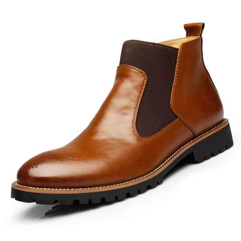 ZHRUI Herren Slip auf Chelsea Stiefel Weiche Sohle Pelz gefüttert Durable Casual Slip Stiefel (Farbe   Braun, Größe   EU 41)