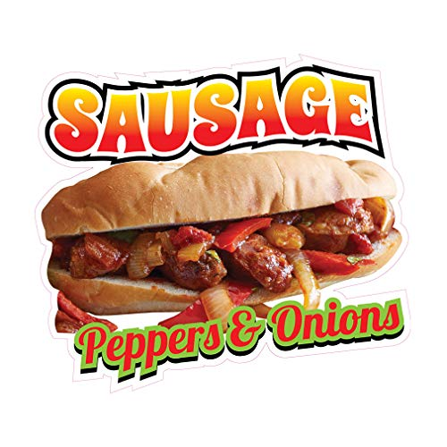Die-Cut Sticker Multiple Sizes Sausage Peppers &Onions Restaurant & Food Sausage Sandwich Indoor Decal Concession Sign Yellow - 14in Longest Side