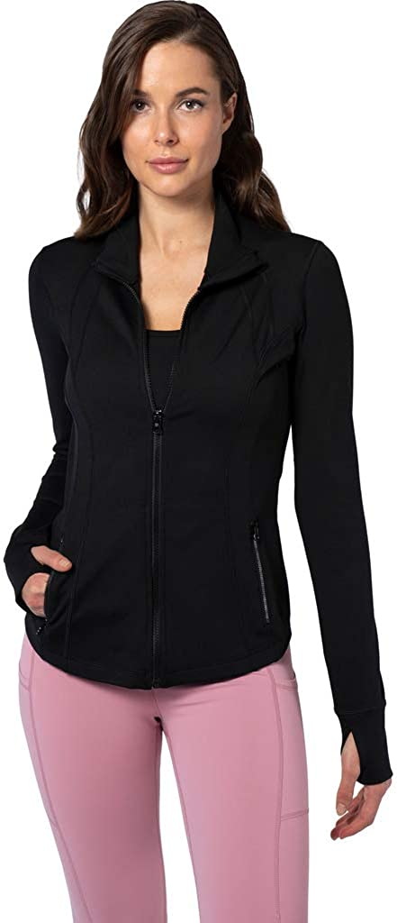 Yogalicious Womens Ultra Soft Lightweight Full Zip Yoga Jacket with Zipper Pockets at  Women's Clothing store
