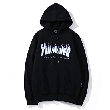 Pingboo Fashion Thrasher Flame Casual Loose Hoodie Sweater Pullover Men  Women b7353d85a8