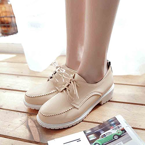 Low Easemax Up Beige Oxford Women's Lace Shoes Retro Toe Round Heel Block HqrYx4wqX