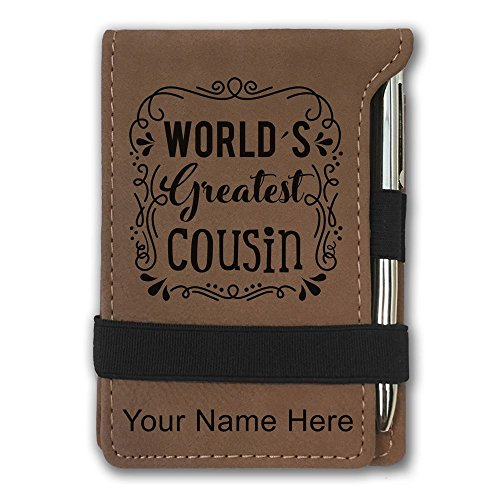Mini Notepad, World's Greatest Cousin, Personalized Engraving Included (Dark Brown) by SkunkWerkz