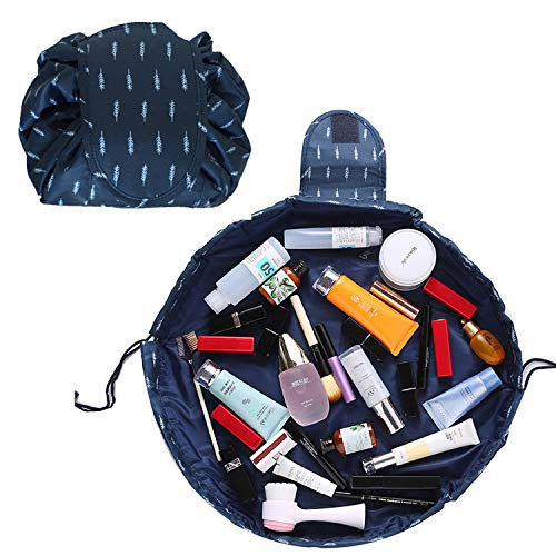 Lazy Makeup Bag Drawstring Cosmetic Bag Portable Quick Pack Travel Makeup Pouch Case Multifunctional Waterproof Toiletry Bags Makeup Brushes Storage Organizer (Dark Blue)