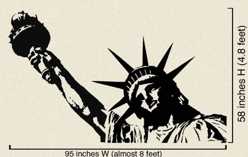 Stickerband Vinyl Wall Art Decal Sticker Statue of Liberty (BLACK color) 8ft x 5ft #122A