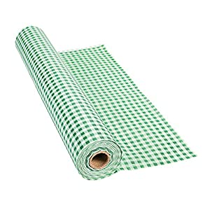 """100' X 40"""" Green Gingham Tablecloth Roll - Party Tableware & Table Covers"""