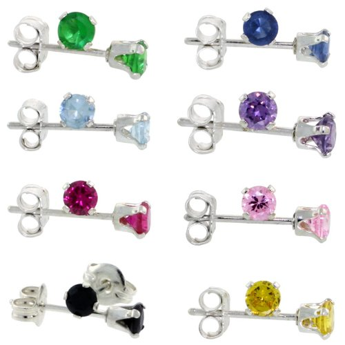 8-Pair Set Sterling Silver Color Cubic Zirconia Stud Earrings 3 mm Emerald, Blue Sapphire, Blue Topaz, Amethyst, Ruby, Pink, Black & YellowZircon, Black & Yellow Colors)