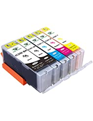Supricolor 5 Piece Edible Ink Cartridge Replacement for PGI-250 CLI-251 for use with PIXMA iP7220, MG5420, MG5422, MG6320, MX722, MX922. Cake Printing