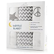 "Baby Muslin Swaddle Blankets w/ Extra-Soft 100% Cotton(3 Blankets) | Large 48""x48"" Wrap Set 