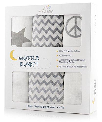 "Baby Muslin Swaddle Blankets w/ Extra-Soft 100% Cotton(3 Blankets) | Large 48""x48"" Wrap Set | Lightweight & Breathable Newborn Swaddling Wraps | Stylish Infant Blanket for Boys & Girls ()"