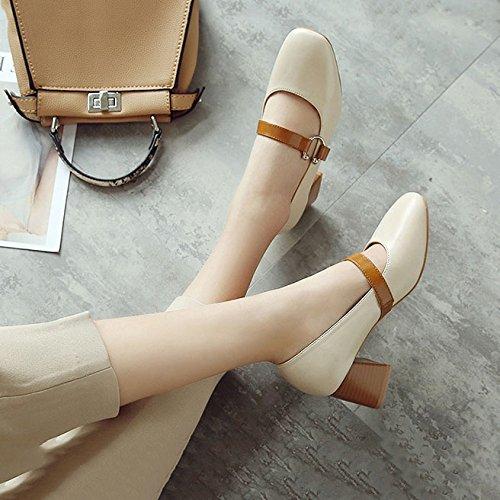 Chaussures Peu Version Jane Décontractées Chaussures Mary étudiants Coréenne pour Mère Grand Beige Profonds Femmes DKFJKI Chaussures Chaussures F17xdqF