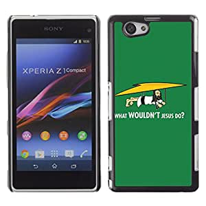 CaseLord Carcasa Funda Case - Sony Xperia Z1 Compact / Funny What Wouldn't Jesus Do /