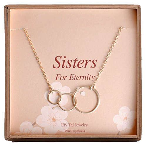 Sterling Silver Three Sister Birthday Gifts Necklace, 3 Circles Sister Necklace, Jewelry Gift for Sisters