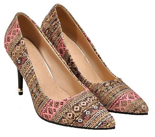Allhqfashion Mujeres Floral Blend Materials High-heels Pull-on Pumps-zapatos Rosa