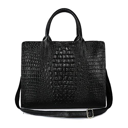 Embossed Large Tote (Women Handbags PU Leather LargeCapacity Shoulder Bag Side Double Zipper Decoration for Ladies (Black) (black))