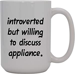 Introverted But Willing to Discuss appliance - 15oz Ceramic White Coffee Mug Cup, Red